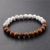 bracelet en bois type bouddhiste nature blanc
