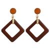boucles d'oreilles pendantes en bois géométriques carrées