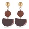 boucles d'oreilles pendantes en bois géométrique