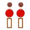 boucles d'oreilles pendantes en bois formes géométriques rouge