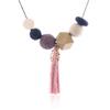 Match-droit-femmes-collier-d-claration-colliers-et-pendentifs-perles-de-bois-avec-gland-collier-pour