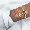 ZORCVENS-la-mode-4-pi-ces-ensemble-couleur-or-coeur-coquille-tortue-infini-cocotier-charme-bracelets