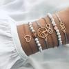 ZORCVENS-6-pi-ces-ensemble-boh-me-couleur-or-perle-Bracelets-ensemble-pour-femme-arbre-coeur