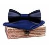 Noeud papillon bois 3D bleu 1