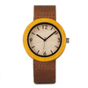 montre bois jaune