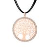 pendentif arbre de vie avec cordon noir or rose
