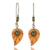 boucles d'oreilles pendantes bois ethniques bohème forme feuille