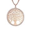 collier arbre de vie entouré de strass plaqué or rose