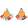 Boucles d'oreilles en bois et raphia colorées