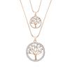 Arbre-de-vie-rond-pendentifs-collier-pour-femmes-or-argent-Double-chaines-cristal-collier-femme