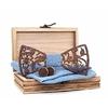 noeud papillon bois original fleurs bleu jean