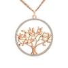 collier avec pendentif joli arbre avec strass or rose
