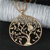 collier pendentif arbre de vie et hiboux strass