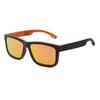 lunettes en bois modele sport verres orange