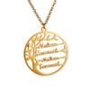 collier pendentif arbre de vie avec prénom personnalisé plaqué or