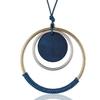 sautoir pendentif disque en bois et cercle en métal bleu