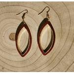 boucles oreilles en bois ovale