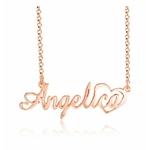 collier prénom en argent 925 avec decoration coeur couleur or rose