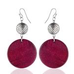 boucles d'oreilles pendantes en bois rond rose