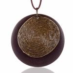 collier sautoir bois métal arbre