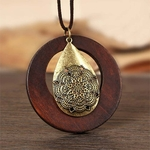 collier sautoir bois métal