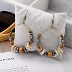 boucles doreilles créoles perles bois et coquillages