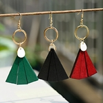 boucles doreilles pendantes en bois 3 couleurs