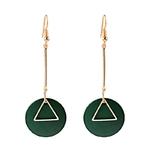 boucles d'oreilles élégantes pendantes barre et rond en bois vert