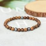 bracelet perles en bois et métal homme et femme