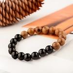 bracelet perles en bois tibétain et yoga bicolore
