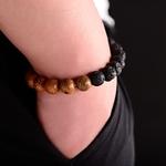 bracelet perles en bois ethnique avec pierres naturelles