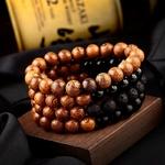 bracelets perles de bois marron et noires