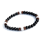 bracelet pour homme perles de bois noires et blanches