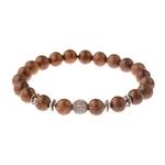 bracelet avec perles en bois style bouddhiste yoga nature avec strass