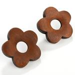 boucles doreilles fleurs pâquerettes en bois