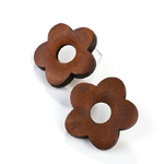 boucles d'oreilles fleurs pâquerettes en bois