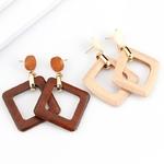 boucles doreilles pendantes en bois géométriques carrées