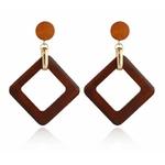 boucles d'oreilles en bois pendantes carré géométrique