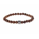 bracelet mala naturel et carré argent