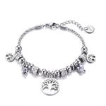 bracelet argenté acier arbre de vie et breloques