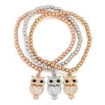 bracelet plaqué or perles et hiboux
