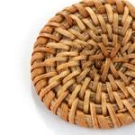 boucles doreilles pendantes grand rond en rotin et bois