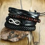 ZORCVENS-4-pi-ce-ensemble-bracelets-d-enveloppement-hommes-femme-noir-cordons-bois-perles-ethnique-Tribal