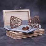 noeud papillon en bois boutons de manchette bois
