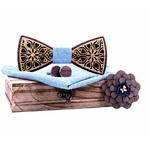Noeud papillon bois noyer bleu ciel amour