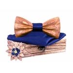 Noeud papillon bois 3D clair bleu velour