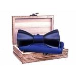 Noeud papillon bois 3D bleu