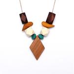 collier bois géométrique polygone