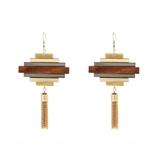 boucles-d-oreilles bois pyramide pendantes