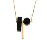 Sautoir bois - Harmonie-rectangulaire-bois-combinaison-pendentif-long-collier